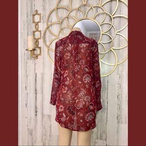 LOFT Tops - Brand New LOFT Burgundy floral blouse Medium